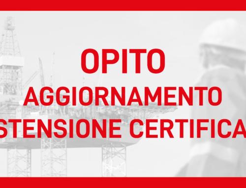 Estensione Certificati OPITO – aggiornamento